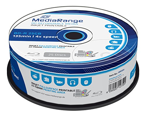 MediaRange MR504 BD-R Blu-ray Disc (25GB 4x Speed, bedruckbar, 25 Stück)