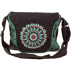 Guru-Shop Bolso de Hombro, Bolso Hippie, Goa, Bolso de Hombro, Bolso - Negro / Azul, Unisex - Adultos, Algodón, Tamaño:One Size, 22x28x6 cm, Bolsas de Hombro