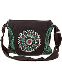 Guru-Shop Schultertasche, Hippie Tasche, Goa Tasche, Umhängetasche, Handtasche - Schwarz/blau, Herren/Damen, Baumwolle, 22x28x6 cm, Alternative Umhängetasche, Handtasche aus Stoff