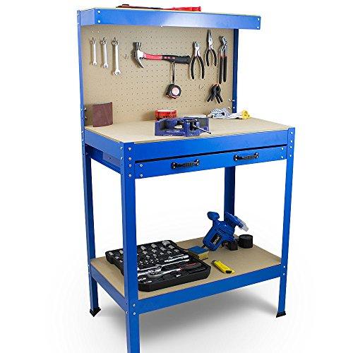 BITUXX® Werkbank Werktisch Arbeitstisch Arbeitsplatte Lochwand Schublade Werkstatt 80 x 50 x 140 cm