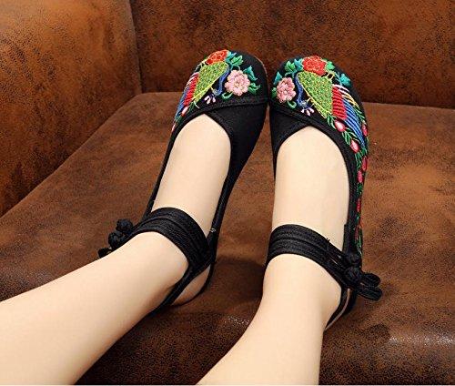 Y&M Gestickte Schuhe, Sehnensohle, ethnischer Stil, Femaleshoes, Mode, bequem, Tanzschuhe Black