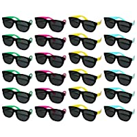 BELLE VOUS Black Sunglasses (24 Pack) - Blue, Pink, Yellow Green Neon Colored Temples Unisex Eyewear for Summer, Fashion, Beach Pool Party Favor Sunglasses for Adults and Kids