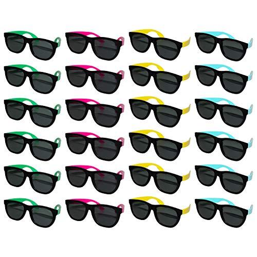 Occhiali da Sole Neri Wayfarer (Confezione da 24)-Plastica di Alta Qualità con Astine Colorate Neon Assortite-Unisex Protezione UV per Estate, Moda, Feste, Spiaggia, Piscina, Adulti e Bambini