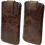 HTC One Mini 2 / Original Suncase® Etui Tasche Leder Handytasche Ledertasche Schutzhülle Case Hülle *mit Rückzuglasche* rustik-tabak braun