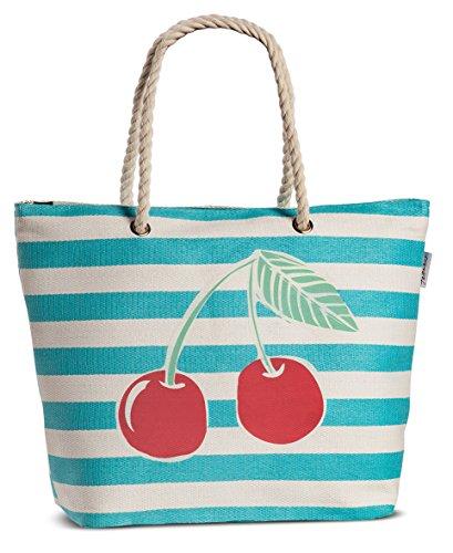Bast-shopper (Einkaufstasche Strandtasche Shopper Korbtasche aus Bast gestreift mit Obst-Motiv Variante Kirschen)