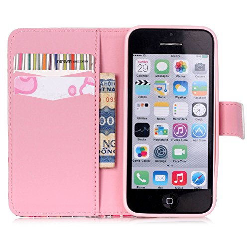 iPhone 5C Handytasche, Felfy Ultra Slim Flip für / Apple iPhone 5C / Leder Etui Ledertasche Schutzhülle Case Cover / Relief Schön Rosa Rose Blume Stil / 1x Rosa Flower Anti Dust Plug / 1x Pink Stylus Blau Feder Campanula
