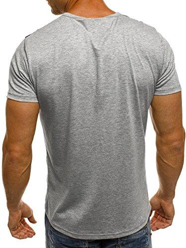 OZONEE Herren T-Shirt mit Motiv Kurzarm Rundhals Figurbetont J.STYLE SS168 Grau