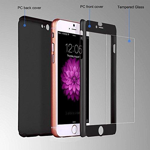 iPhone 6/6S case, Ipaky 360° Full Body copertura custodia per iPhone 6/6S [antigraffio] ultra sottile custodia rigida con pellicola proteggi schermo in vetro temperato 11,9cm