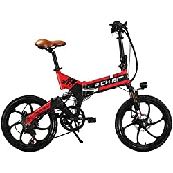"Roll Over Image to zoom en Rich Bit® RT 730 bicicleta eléctrica para bicicleta plegable bicicleta Ciclismo 250 W * 48 V 8 Ah LG recargable 7Speed 7 marchas Equipada funda para teléfono cargador y soporte para doble freno de disco mecánico, ruedas de 20 ""ciudad Commute para bicicleta marchas Shimano larga duración nueva moda pintura rojo"