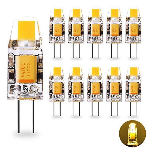 Yuiip G4 LED Lampe 1.2W Warmweiß 2700K COB Glühbirnen Ersatz für G4 10W Halogenlampen, 12V AC / DC, 360° Abstrahlwinkel, Kein Flackern G4 LED Leuchtmittel Birne, Nicht Dimmbar,10er Pack -