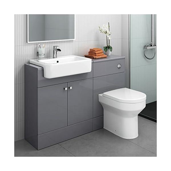 1160 mm Modern Gloss Grey Bathroom Door Vanity Unit Basin Sink + Toilet Furniture Set 51Eb71BaPSL