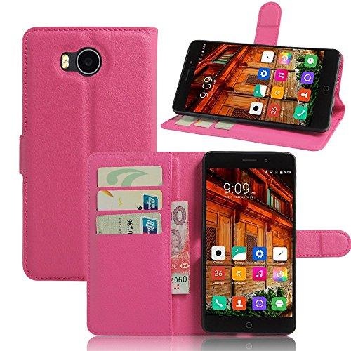Tasche für Elephone P9000 Lite Hülle, Ycloud PU Ledertasche Flip Cover Wallet Case Handyhülle mit Stand Function Credit Card Slots Bookstyle Purse Design Rose Red