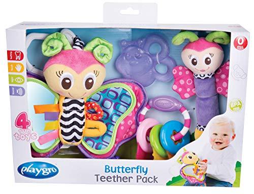 Playgro Spiel- und Beißring-Geschenkset Schmetterling 40198-4-teilig - Ab 0 Monaten - Mehrfarbig