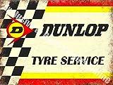Dunlop Pneu Service Motorsport Moteur Rétro Vintage De course Garage Métal/Panneau Mural Métalique - 20 x 30 cm