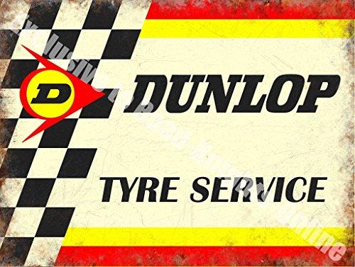 Dunlop Pneumatico Servizio Motorsport Motore Rétro Vintage Da corsa Garage Metallo/Targa Da Parete In Acciaio - 30 x 40 cm