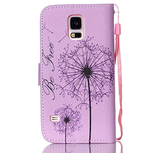 Copertura per Samsung Galaxy S5 Mini in pelle, Samsung Galaxy S5 Mini Custodia Portafoglio, S5 Mini Case Cover, Ukayfe blue Wave-this iphone is locked Design dellunità di elaborazione di vibrazione d porpora-Dandelion