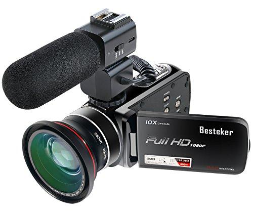 Kamera Camcorder, Besteker Full HD Videokamera 24MP 1080P 30FPS 3.0 inches Touchscreen 10X Optischer Zoom und 120X Digital Zoom mit Weitwinkelobjektiv und Externem Mikrofon