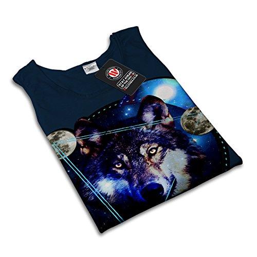Galaxis Platz Wolf Kosmos Galaxis Tier Damen S-2XL Muskelshirt | Wellcoda Marine