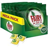 Fairy, Pastillas Lavavajillas Original Limón, 125 Cápsulas Todo en 1, 5 x 25