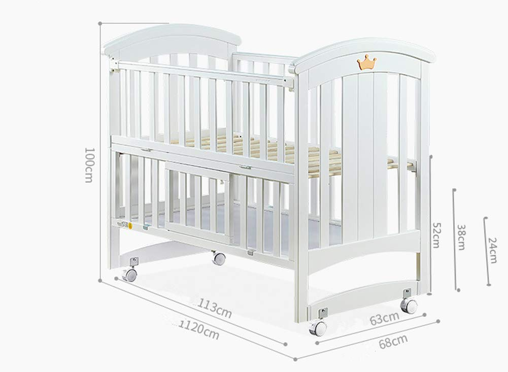 KLI Newborn Infant Crib Solid Harmless Paint Wood Baby Cradle Rocking Bed With Mattress,120 * 68 * 100Cm KLI Shipping list : crib,mat Size:120*68*100cm. Natural pine wood, harmless paint, polished and smooth, environmental wood, good for your baby 3 grade height adjustment: grade 1 (52cm from the floor)can be used for baby in 0-6 month, convenient to take out baby; grade 2 (38cm from the floor) for baby in 6-12 months and can stand independently;grade 3 (22cm from the floor) for baby in 1-3 years old. 3