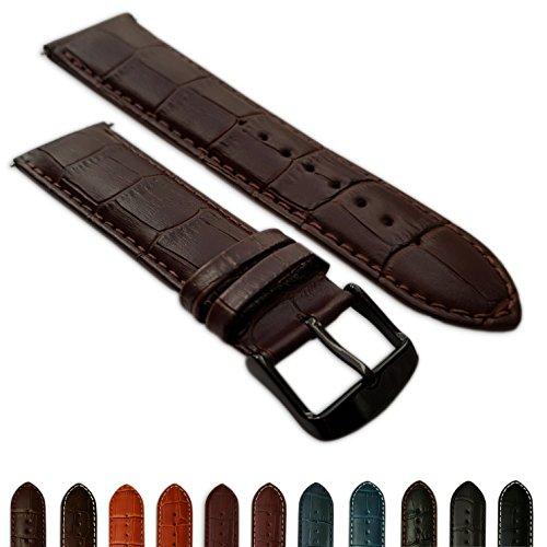 20mm Uhrenarmband braun aus echtem Leder Mock Croc Band Herren Krokodil gepolstert schwarz Schnalle -