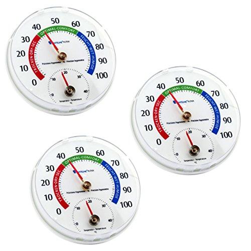 Lantelme 6577 Temperatur und Luftfeuchtemesser 3 Stück Set - Kombigerät - Analog Thermometer und Hygrometer