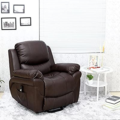 Madison Elecrtic Rise Recliner Real Leather Armchair Sofa Home Lounge Chair from more4homes