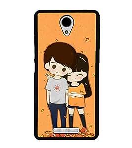 Cute Couple 2D Hard Polycarbonate Designer Back Case Cover for Xiaomi Redmi Note 2 :: Redmi Note 2 Prime