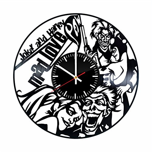 Joker und Harley Quinn Vinyl Uhr - DC Comics Batman Gotham City Vinyl Records Art Wand Room Decor Handmade Deko Party Supplies Thema - Beste Original Geschenk Idee Vintage und Modernen Stil