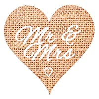 Mr & Mrs Stickers for Rustic Wedding Favours and Decor, Hessian Effect Heart Labels - Set of 72