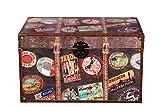 Sarah B Truhe Kiste SJ 15328 Reisekofferoptik, Reise, England, Weltreise, Kreuzfahrt, Holztruhe mit Leder bezogen im Vintage Look, Schatzkiste,Kiste, Piratenkiste, Holzbox