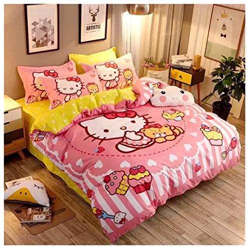Peachy Baby Bettwäsche-Set Hello Kitty, 3- und 4-teilig, für Einzelbett, Queensize-Doppelbett, Gelb/Rosa, Mehrfarbig, A Twin Single (Kitty Baby Hello Bettwäsche)