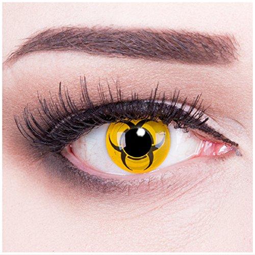 Farbige gelbe schwarze Kontaktlinsen Biohazard + 4 Kunstblut Kapseln + Behälter von Funnylens, weich, ohne Stärke als 2er Pack - perfekt zu Halloween, Karneval, Fasching oder - Kostüm Halloween Biohazard