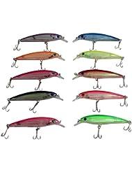 KurtzyTM Matériel de Pêche Lot de 10 Appâts en Plastique pour la Pêche avec Hameçons de 10cm