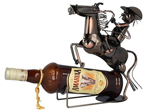 MT Soporte para Botellas Metal Jinete Cowboy a Caballo Regalo Boda Decoración Color Cobre