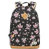 Blumen Rucksack Mode Floral Schulrucksack Daypacks für Mädchen Schule Reiserucksack (Schwarz)