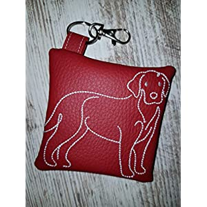 Kotbeutelspender für Hunde Labrador Retriever aus pflegeleichtem Kunstleder rot