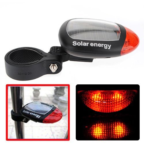 Solar Power Bike Bicycle LED Cycling Tail Rear Red...