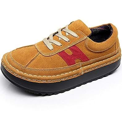 Shenn Frauenplattform Slip On Bequeme Braun Lederturnschuhe Schuhe EU37 2602 Thn3Z
