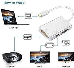 Farraige Samandar E Commerce 3 In 1 Gold Plated Mini Displayport Thunderbolt To Hdmi/Dvi/Vga Display Port Cable for PC with mini display port - White