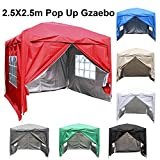 Greenbay 2.5M x 2.5M Foldable Pop up Gazebo Sun Protection Event Outdoor Tent With Four Side Panels (Two with Windows) - Red