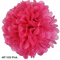 pink, 20cm : 1Pc 15cm 20cm 25cm 30cm Multicolor Pom Poms Tissue Paper Flower Ball Wedding Birthday Party Decor Festival Hall Hanging Supplies
