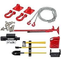 MagiDeal RC Crawler 1/10 Cilindro de Combustible Kit de Herramientas de Gato con Cadena de Gancho de Remolque para Axial SCX10 CC01 - Rojo