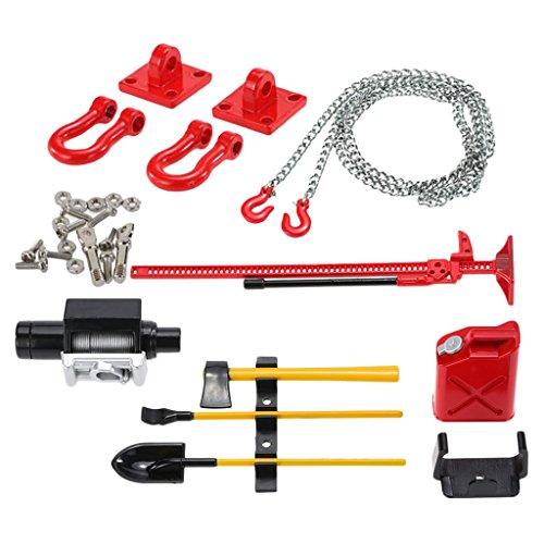 MagiDeal RC Zubehör Set - Anhängerkupplung + Anhängerkette + Deko Werkzeug Kit