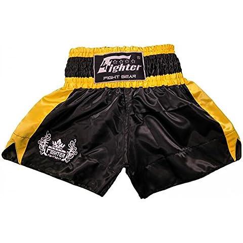 4Fighter Muay Thai Short Classic in nero-giallo con 4fighter logo sulla gamba, Taille:S - Muay Thai Kickbox Shorts