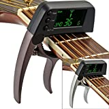amiciKart High Quality Portable Metal LCD Acoustic Electric Digital Classic Guitar Quick Change Trigger Tuner Capo Clamp Bass Guitar Tuner