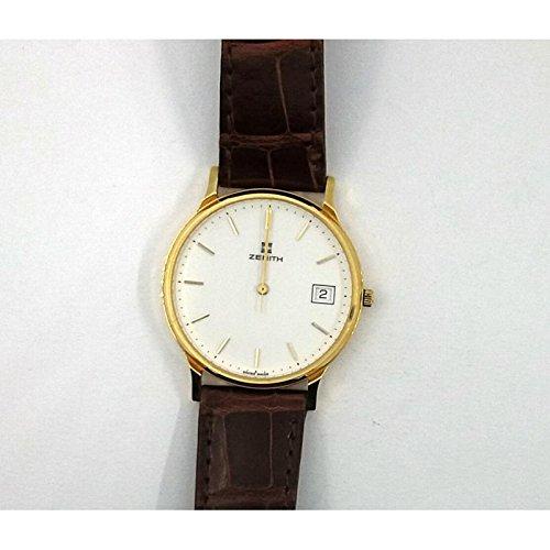 Orologio Zenith oro or060280 Al quarzo (batteria) Oro Quandrante Bianco Cinturino Pelle