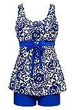 Summer Mae Damen Badekleid Geblümt  Spa Badeanzug Strandkleid Baden Swimwear ,Saphirblau (Zweiteiler),EU 50 = Etikett Größe  9XL