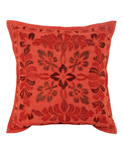 Living Room Accessories Red Single Handmade Cushion Cover 17x17 Floral Embroidered Pillow Covers Vintage Cotton Throw Pillow By Rajrang