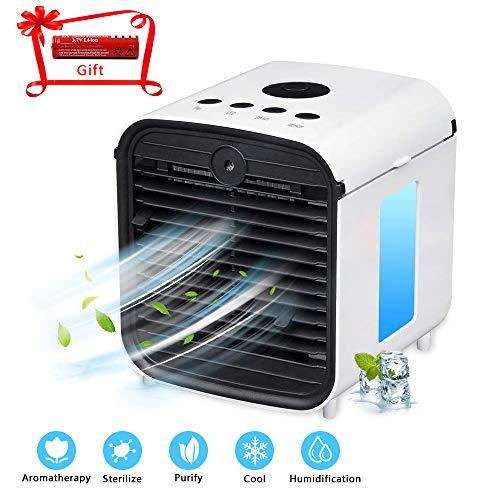 ZEHNHASE Condizionatori, ventola di raffreddamento desktop portatile, umidificatore multifunzione e purificatore con 7 colori luci a LED